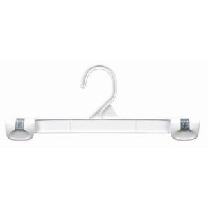 Plastic Gripper Hanger w/ Stationary Hook - White